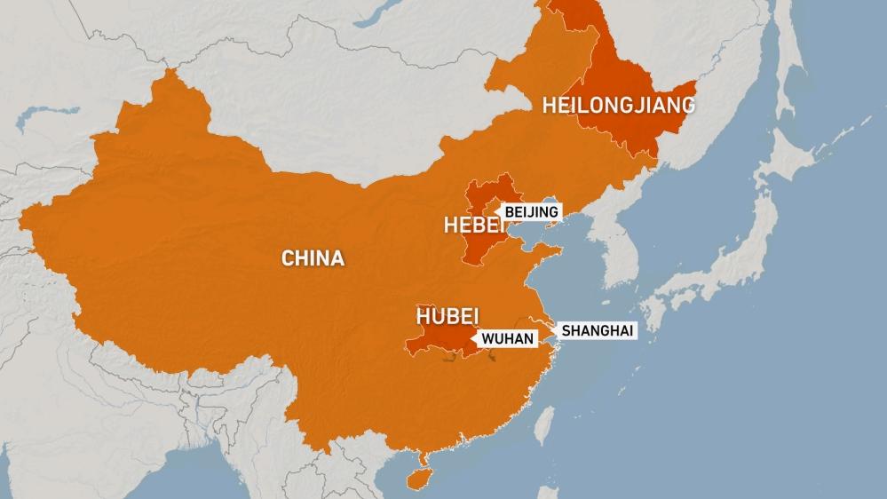 MAP - China, Wuhan, Hebei, Hubei, Shanghai, Hueilongjiang