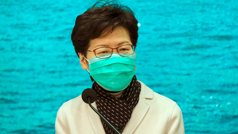 Hong Kong Chief Executive Carrie Lam wears a mask following the outbreak of a new coronavirus during an news conference, in Hong Kong, China January 28, 2020. REUTERS/Tyrone Siu