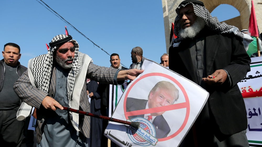 Palestinians take part in a protest against the U.S. Middle East peace plan, in Rafah in the southern Gaza Strip
