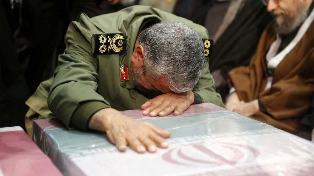 Brigadier General Esmail Ghaani, the newly appointed commander of the country's Quds Force, reacts during the funeral prayer of the coffins of Iranian Major-General Qassem Soleimani, head of the elite