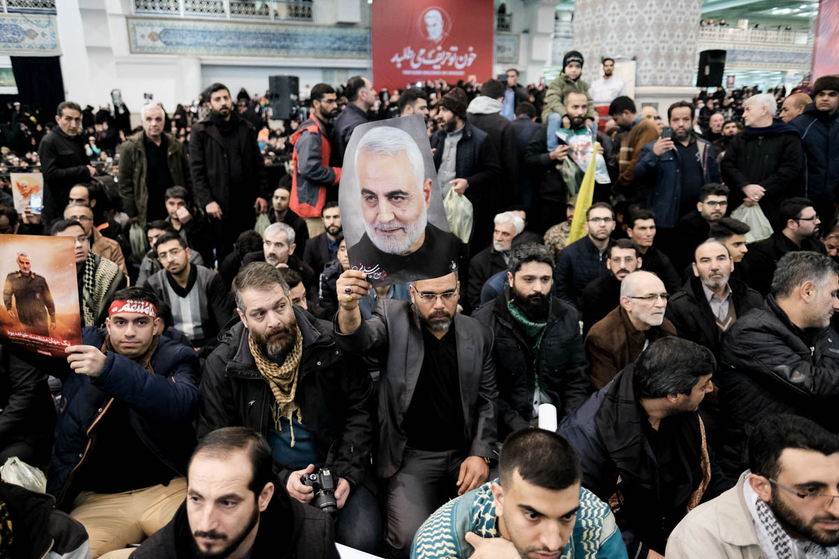 Iranians took to the streets of Tehran to pay their respects to slain Quds Force commander Qassem Soleimani and express their anger at his killing. [Mohammad Ali Najib/Al Jazeera]