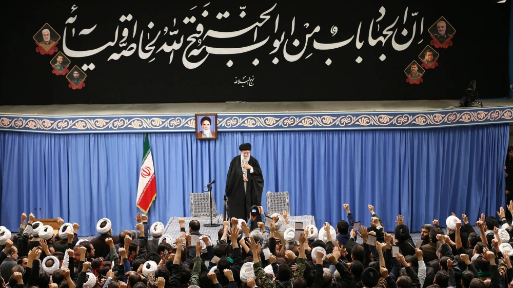 A handout picture provided by the office of Iran's Supreme Leader Ayatollah Ali Khamenei shows him addressing a meeting in Teharn on January 8, 2020. Khamenei said a