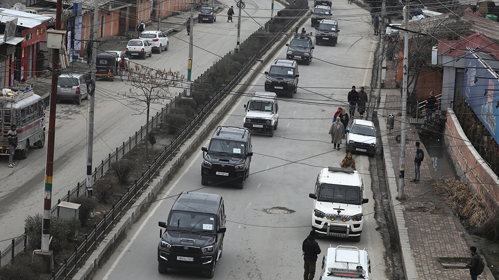 A motorcade of envoys from Latin American and African countries drives through Peerbagh road in Srinagar, Kashmir, India, 09 January 2020. A 16-member delegation is visiting Kashmir to assess the gro