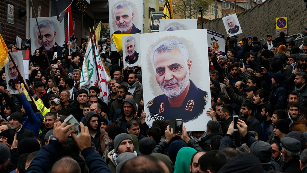 Protesters gather during a demonstration against the killing of Iranian Revolutionary Guard Gen. Qassem Soleimani, close to United States' consulate in Istanbul, Sunday, Jan. 5, 2020. Iran has vowed