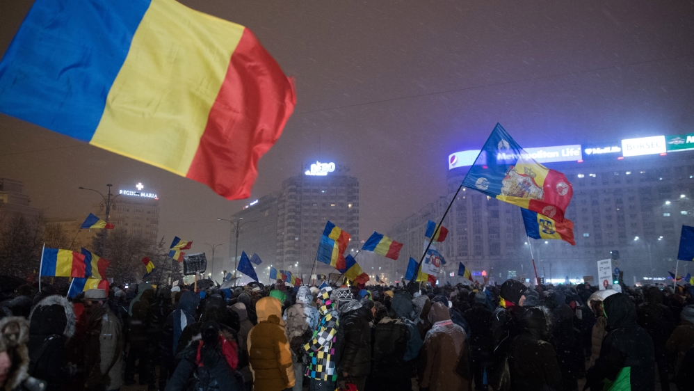 Nightly Protests Continue In Bucharest Despite Government Scrapping Corruption Decree