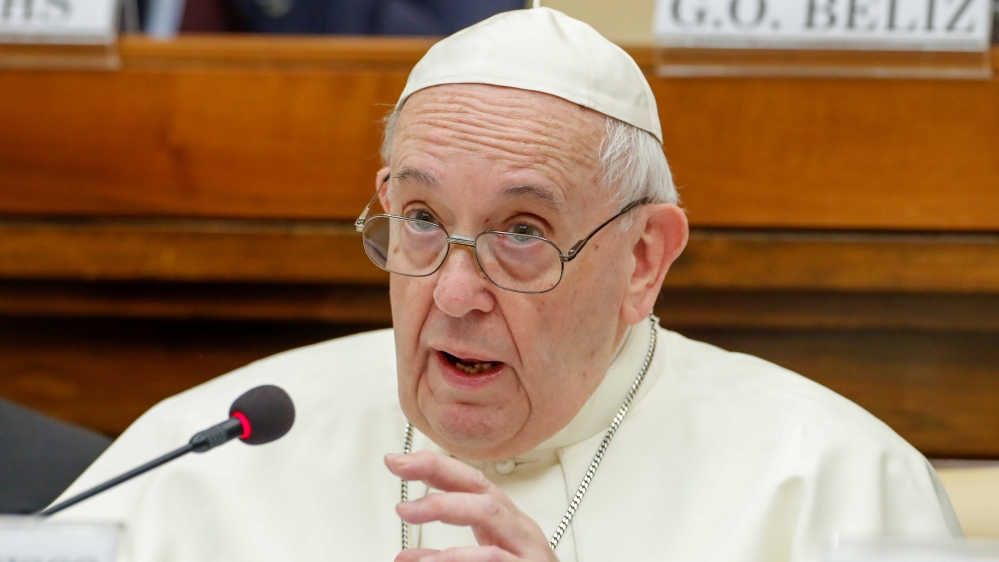 Pope Francis speaks at a conference hosted by the Vatican on economic solidarity, at the Vatican
