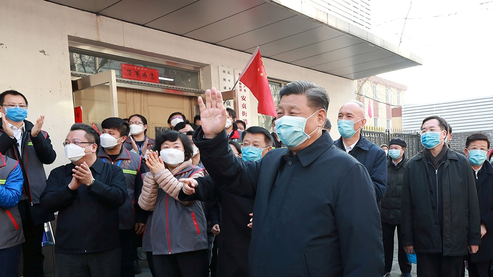 Chinese President Xi Jinping inspects the novel coronavirus prevention and control work at Anhuali Community in Beijing, China, February 10, 2020. Xinhua via REUTERS  ATTENTION EDITORS - THIS IMAGE WA