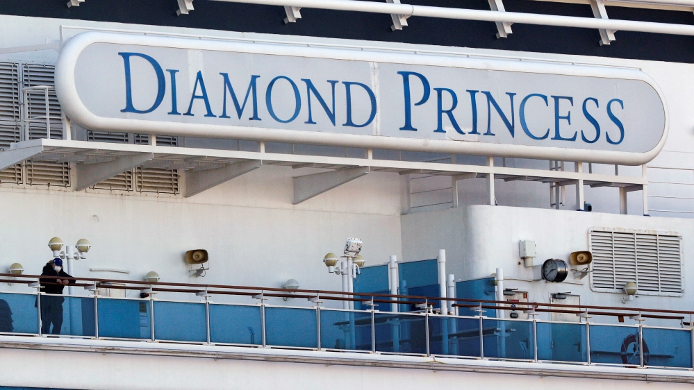 Cruise ship Diamond Princess at Daikoku Pier Cruise Terminal in Yokohama