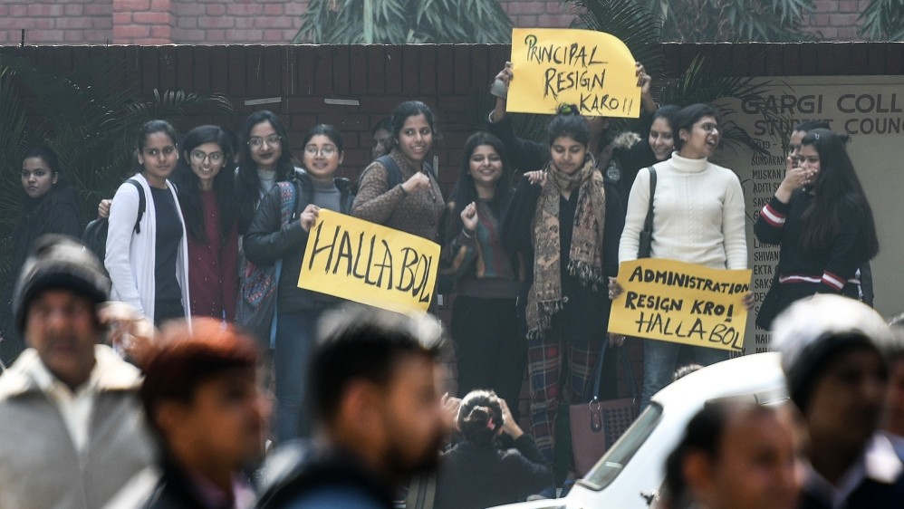 Studesnts of Delhi Universitys Gargi College protest against mass molestation that took place during their annual fest, on February 10, 2020 in New Delhi, India. (Photo by Biplov Bhuyan/ Hindustan Tim