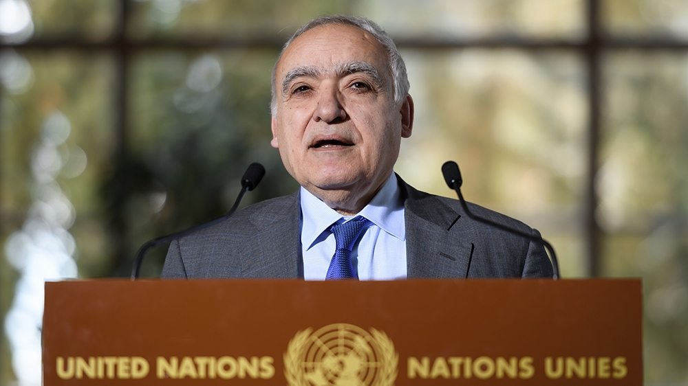 UN Envoy for Libya Ghassan Salame holds a press briefing during UN-brokered military talks on February 18, 2020 in Geneva. (Photo by Fabrice COFFRINI / AFP)