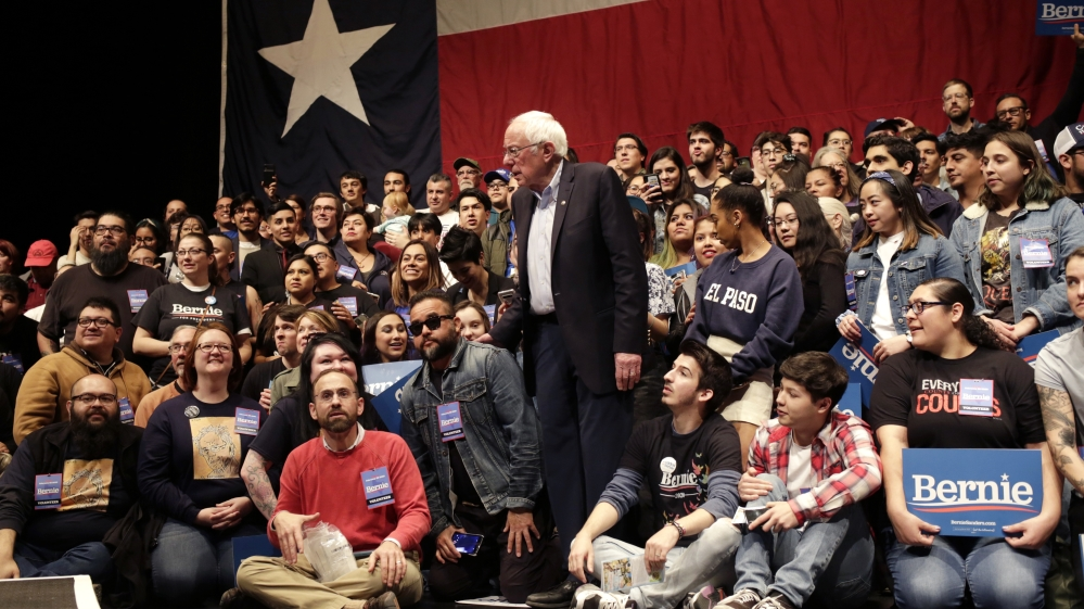 U.S. Democratic presidential candidate Senator Bernie Sanders addresses his first campaign rally after the Nevada Caucus in El Paso, Texas, U.S.
