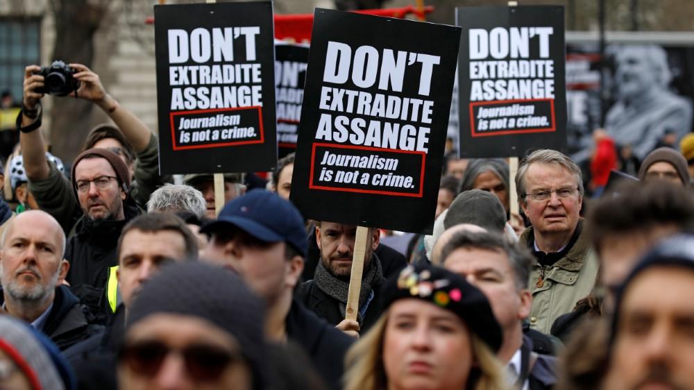 Assange demo AFP
