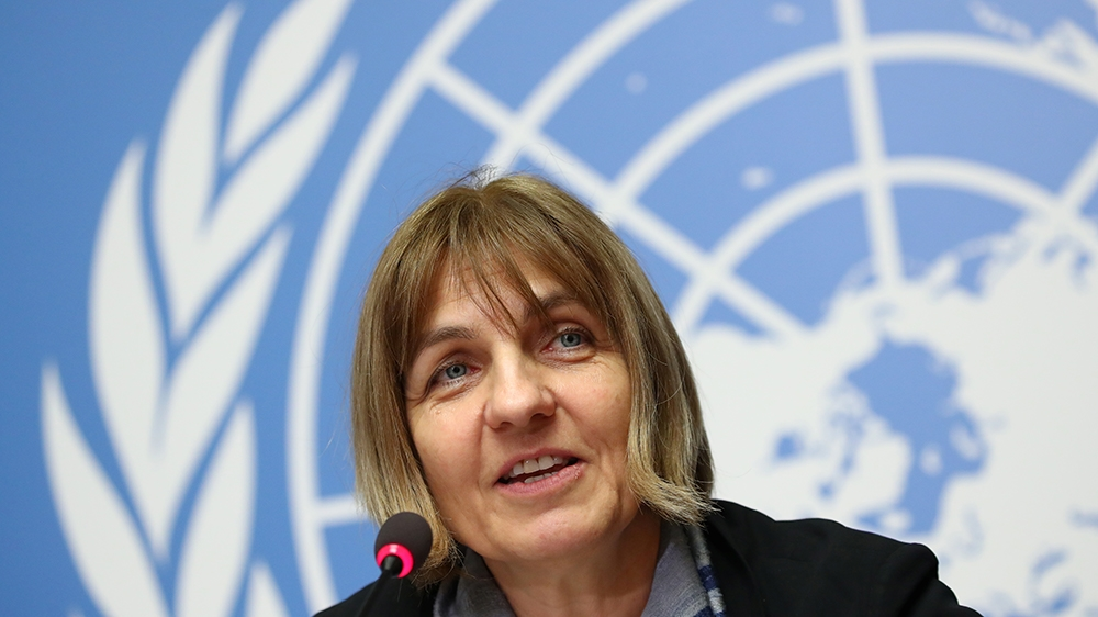 Sylvie Briand, Director of global infectious hazard preparedness at the World Health Organization (WHO) attends a news conference on the new coronavirus outbreak in Geneva, Switzerland February 4, 202