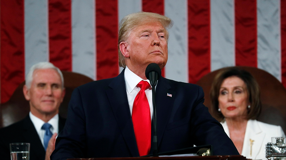 President Donald Trump delivers his State of the Union address to a joint session of Congress in the House Chamber on Capitol Hill in Washington, Tuesday, Feb. 4, 2020, as Vice President Mike Pence an