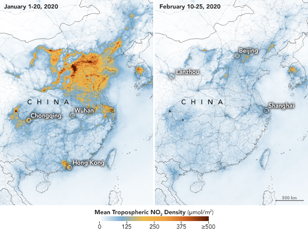Airborne Nitrogen Dioxide Plummets Over China [NASA]