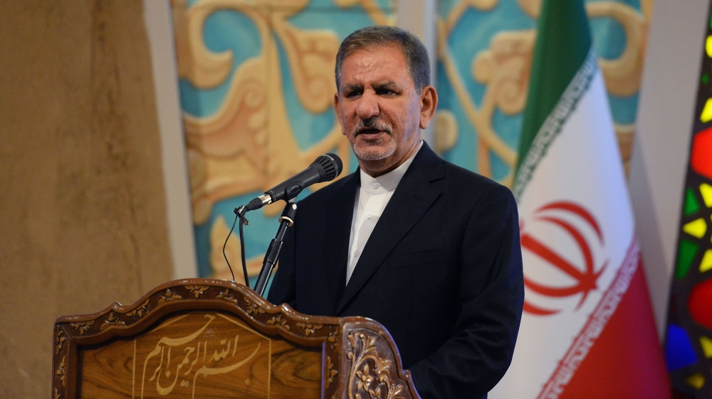 First Vice-President of Iran Eshaq Jahangiri delivers a speech during