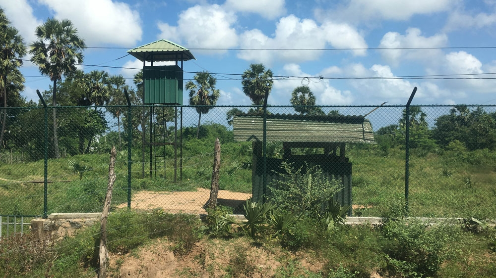 A watchtower in an army camp in Keppapilavu in northern Sri Lanka