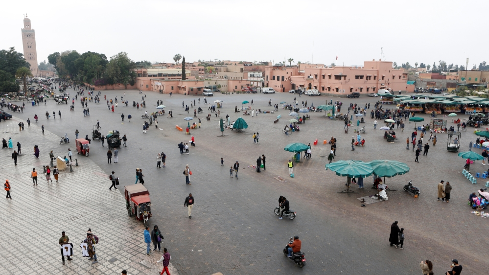 People gather at Jamaa Lafna square in Marrakech