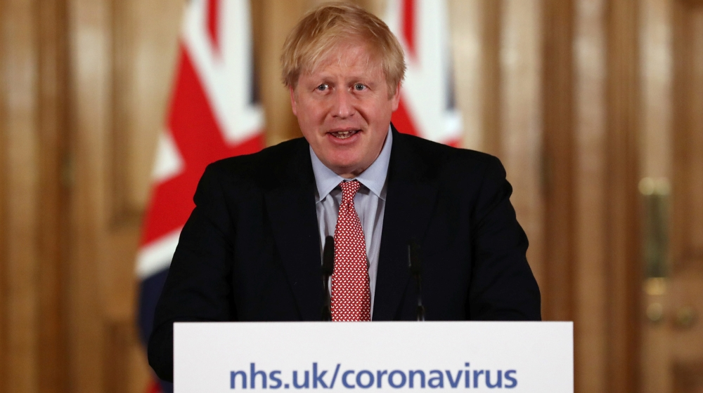 British Prime Minister Boris Johnson holds a news conference addressing the government's response to the coronavirus outbreak, at Downing Street in London, Britain March 12, 2020. REUTERS/Simon Dawson