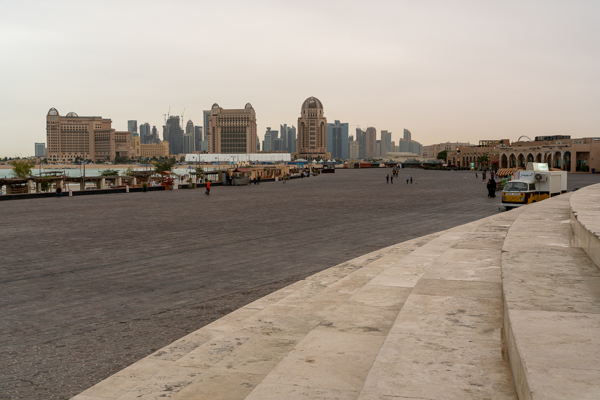 The empty seafront at Katara Cultural Village. People were advised to avoid crowded places and observe social distancing. [Sorin Furcoi/Al Jazeera]