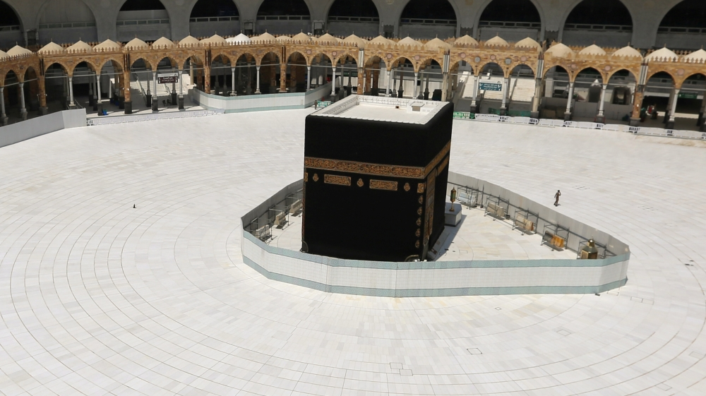 General view of Kaaba at the Grand Mosque which is almost empty of worshippers, after Saudi authority suspended umrah amid the fear of coronavirus outbreak, at Muslim holy city of Mecca