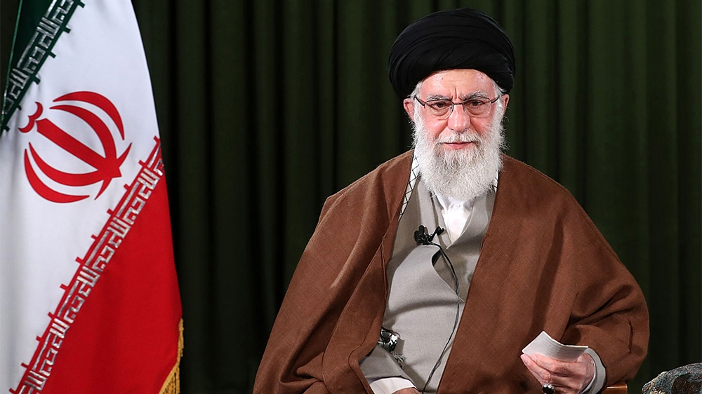 A handout picture provided by the office of Iran's Supreme Leader Ayatollah Ali Khamenei on March 20, 2020 shows him delivering a speech on the occasion of Noruz, the Iranian New Year, in Tehran. - No
