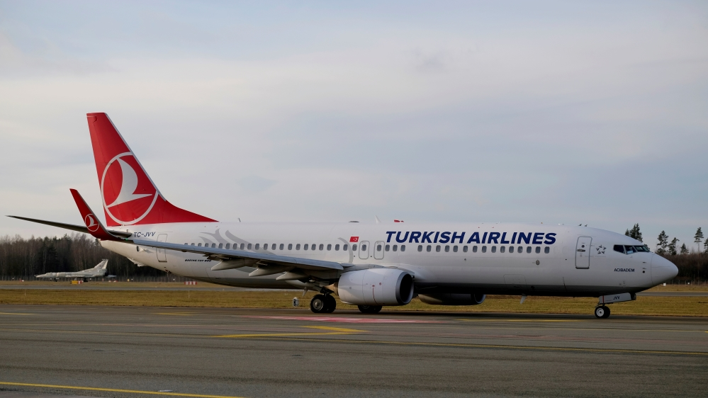 Turkish Airlines Boeing 737-800 plane TC-JVV taxies to take-off in Riga International Airport