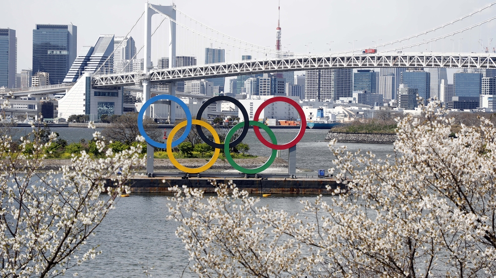 Mar 24, 2020; Tokyo, Japan; Olympic rings monument at Rainbow Bridge, Odaiba, Tokyo. On Monday the IOC announced that the Tokyo 2020 Summer Olympics Games would be postponed due to the COVID-19 corona