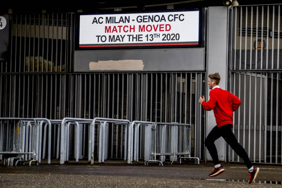 Milan's Giuseppe Meazza stadium has been closed. The Italian Serie A football match between AC Milan and Genoa CFC was postponed to May 13. [Mourad Balti Touati/EPA]