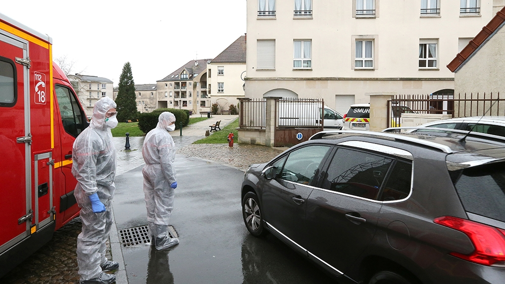 Members of emergency and intensive care services are at work after a person was allegedly contaminated by the new Covid-19 Coronavirus, on March 2, 2020 at Etienne Marie de la Hante retirement home in