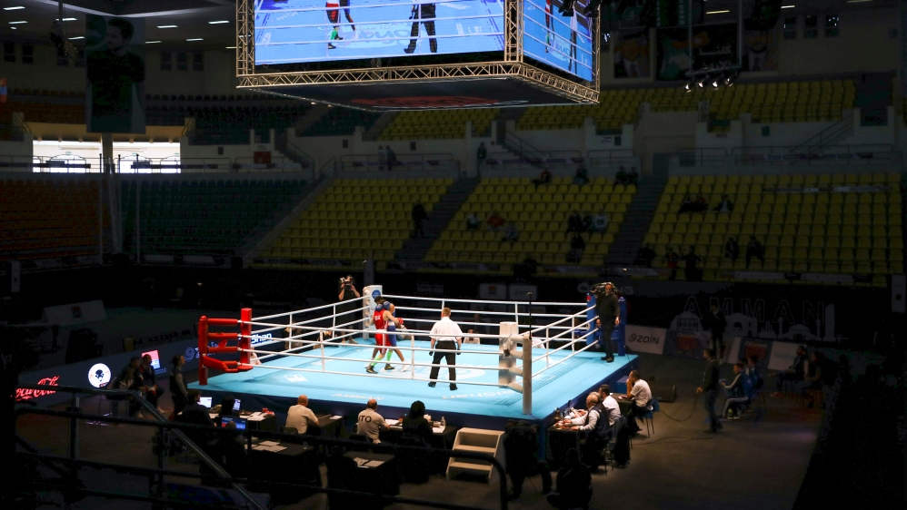 General view of the hall during Asia and Oceania boxing qualifiers for Tokyo 2020 Olympics at the Prince Hamzah Hall in Amman