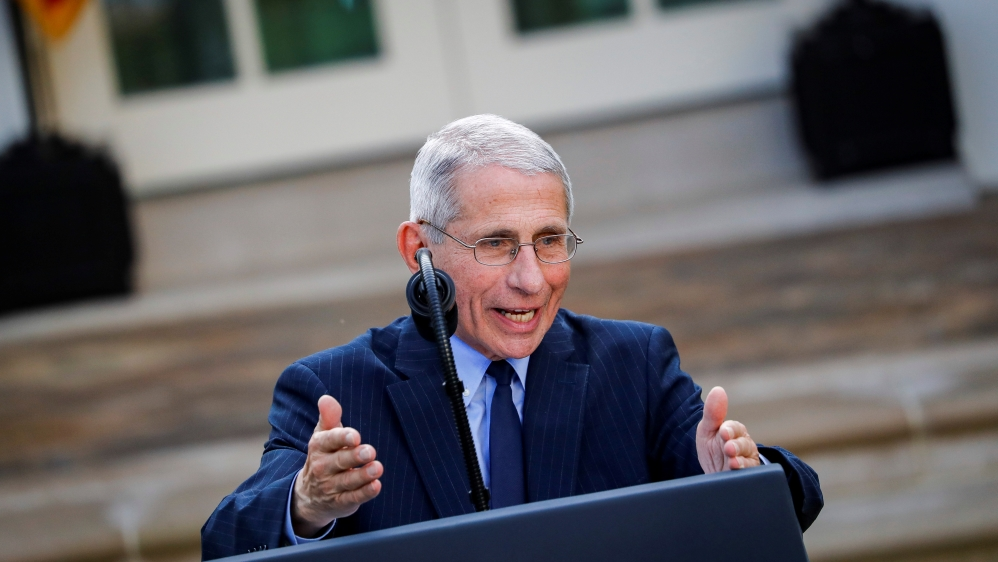 NIH National Institute of Allergy and Infectious Diseases Director Anthony Fauci speaks during a news conference in the Rose Garden of the White House