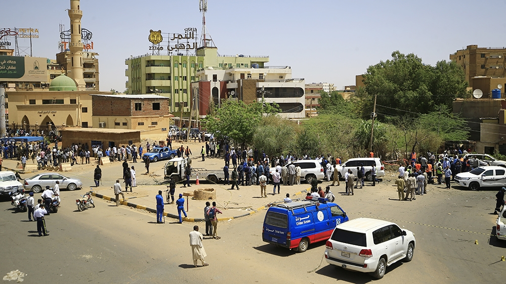 A general view shows the site of an assassination attempt against Sudan's Prime Minister Abdalla Hamdok, who survived the attack with explosives unharmed, in the capital Khartoum on March 9, 2020. - A