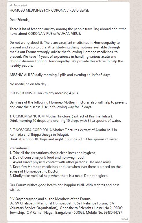 Coronavirus misinformation India [Screengrab]