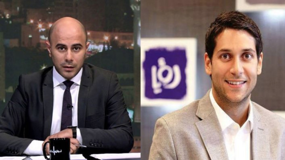 Roya TV news director Mohamad al-khaldi, left and General Manager and owner Fares Sayegh
