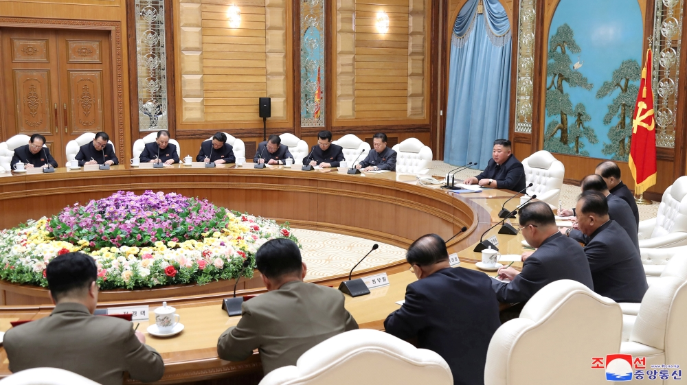 North Korean leader Kim Jong Un takes part in a meeting of the Political Bureau of the Central Committee of the Workers' Party of Korea