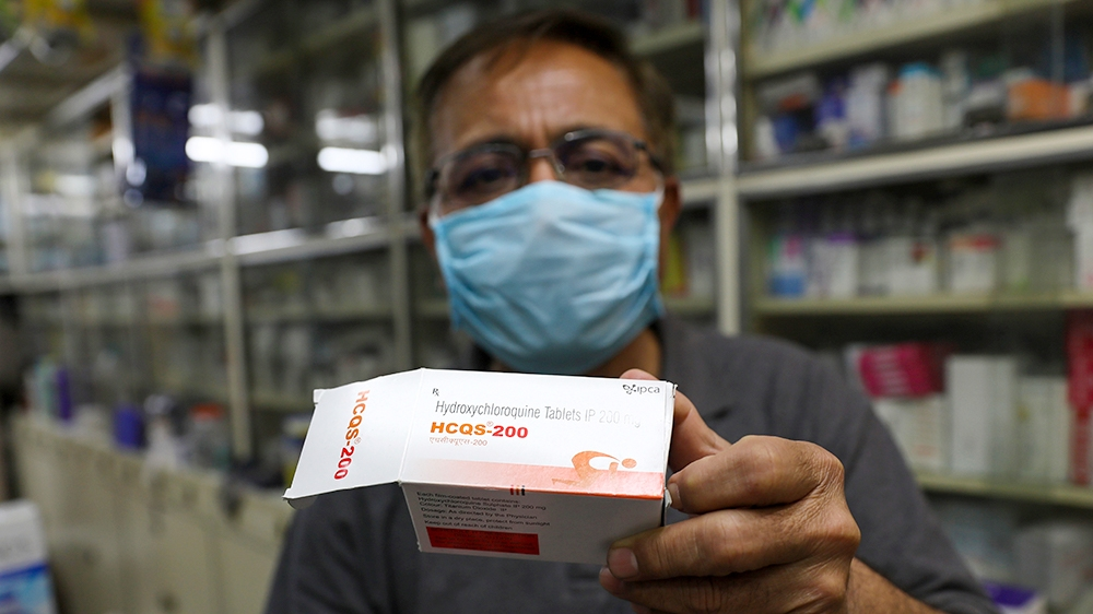 A chemist displays hydroxychloroquine tablets in New Delhi, India, Thursday, April 9, 2020. Amidst concerns over domestic shortage, India has lifted the ban on some drug exports including hydroxychlor