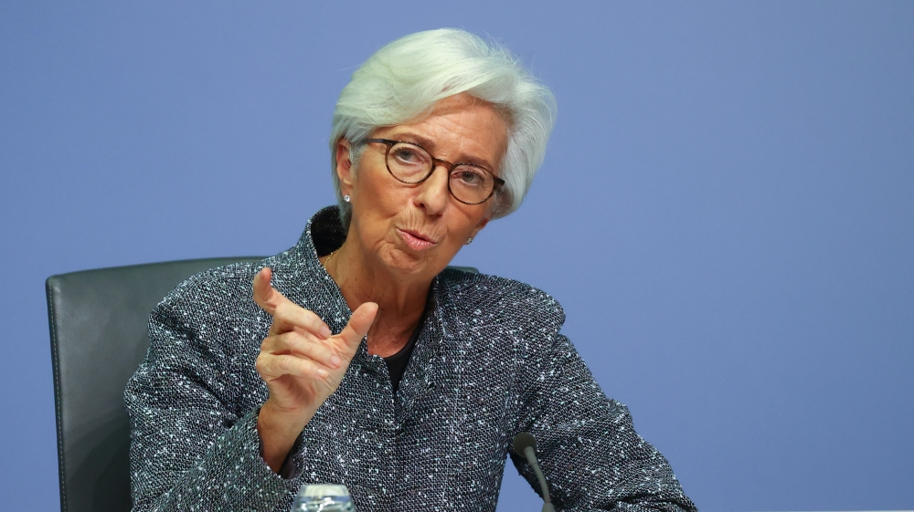 European Central Bank (ECB) President Christine Lagarde gestures during a news conference on the outcome of the meeting of the Governing Council, in Frankfurt