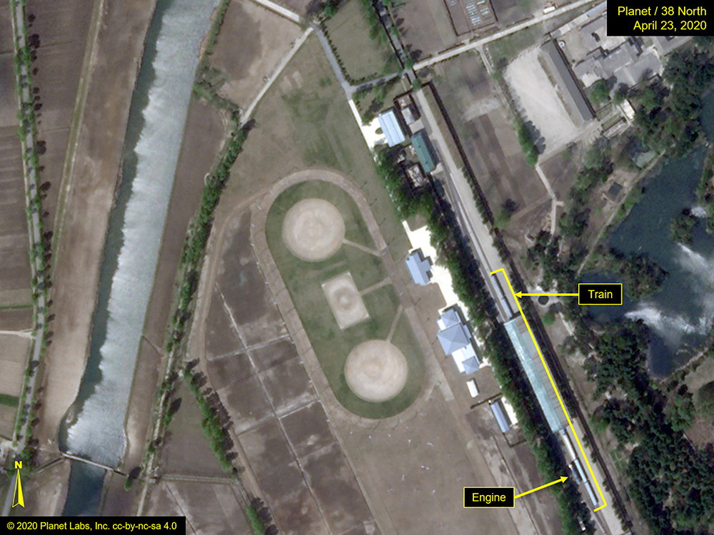 What is described by Washington-based North Korea monitoring project 38 North as a special train possibly belonging to North Korean leader Kim Jong Un is seen in a satellite image with graphics  taken