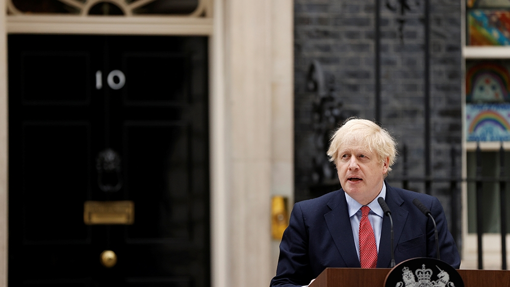 Britain's Prime Minister Boris Johnson speaks outside 10 Downing Street after recovering from the coronavirus disease (COVID-19), London, Britain, April 27, 2020. REUTERS/John Sibley
