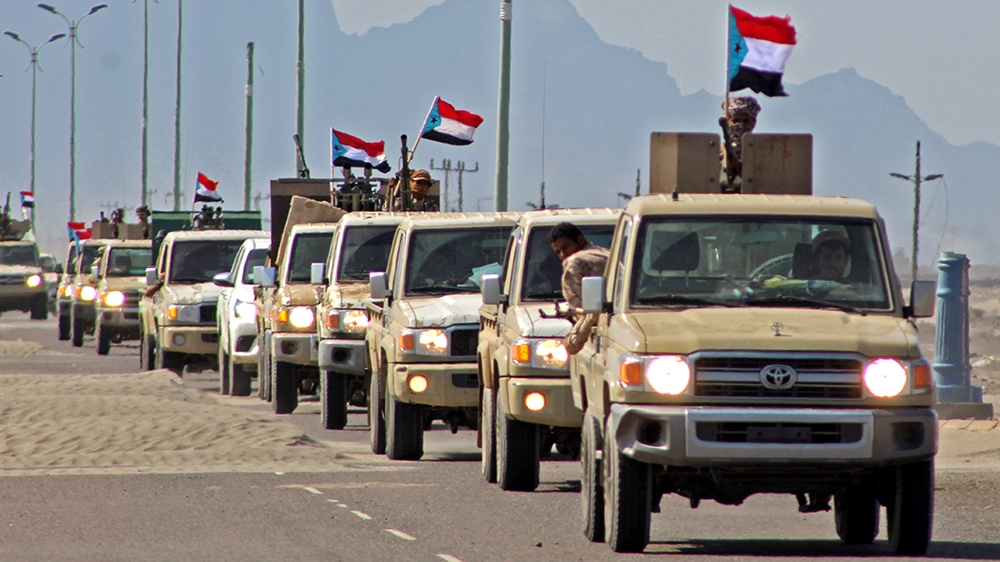 (FILES) A file photo taken on November 26, 2019, shows a reinforcement convoy of Yemen's Security Belt Force dominated by members of the the Southern Transitional Council (STC) seeking independence fo