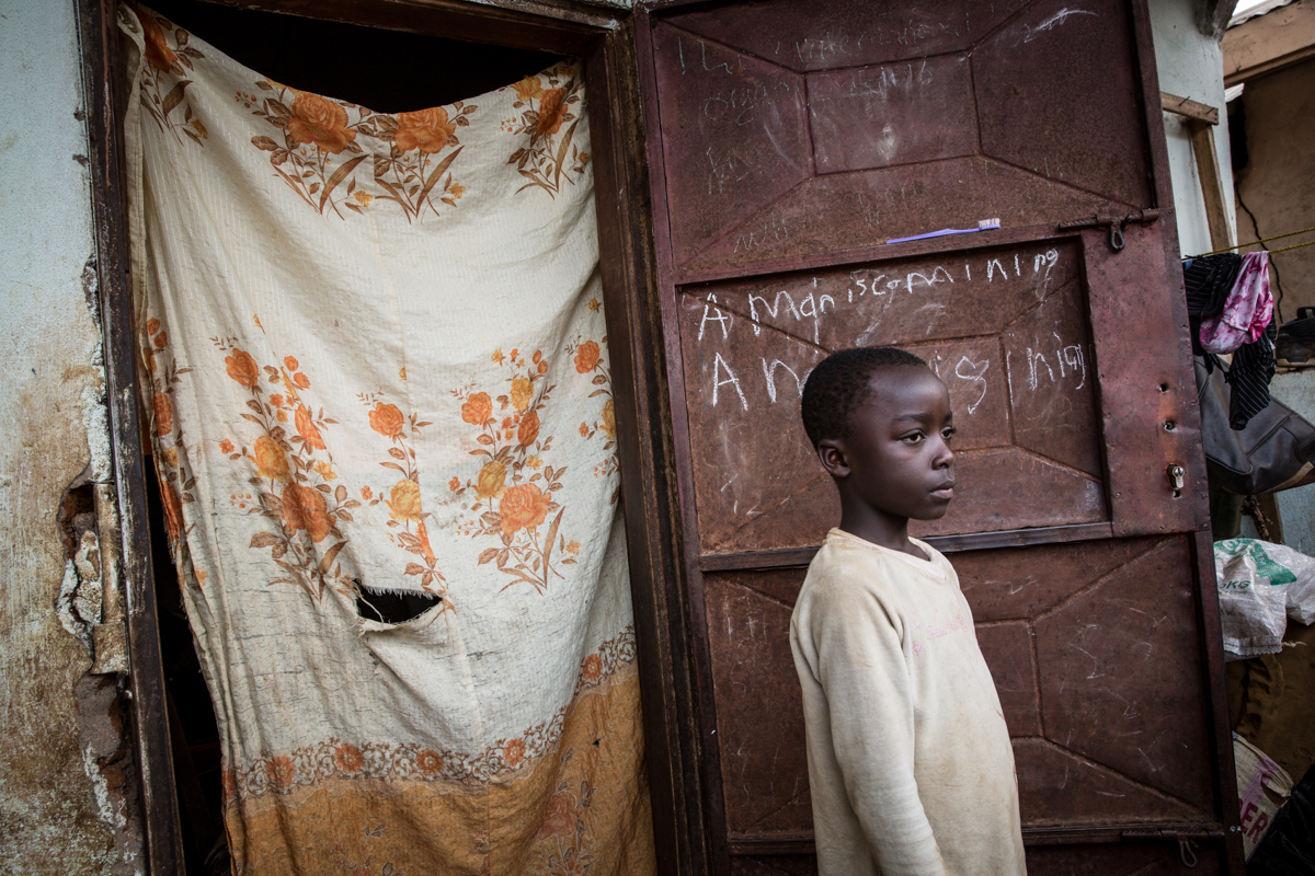 The scars of war are deep in Alliance's young children. 'When my children hear gunshots, they start to cry and run inside the house and they wet themselves. I lift them up and I carry them, I tell them it will be over soon,' she said. [Ingebjorg Karstad/NRC]