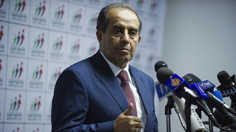 National Forces Alliance leader Mahmud Jibril gives a press a conference at the Alliance headquarters in Tripoli, on July 8, 2012. Liberals claimed an early lead today in vote counting