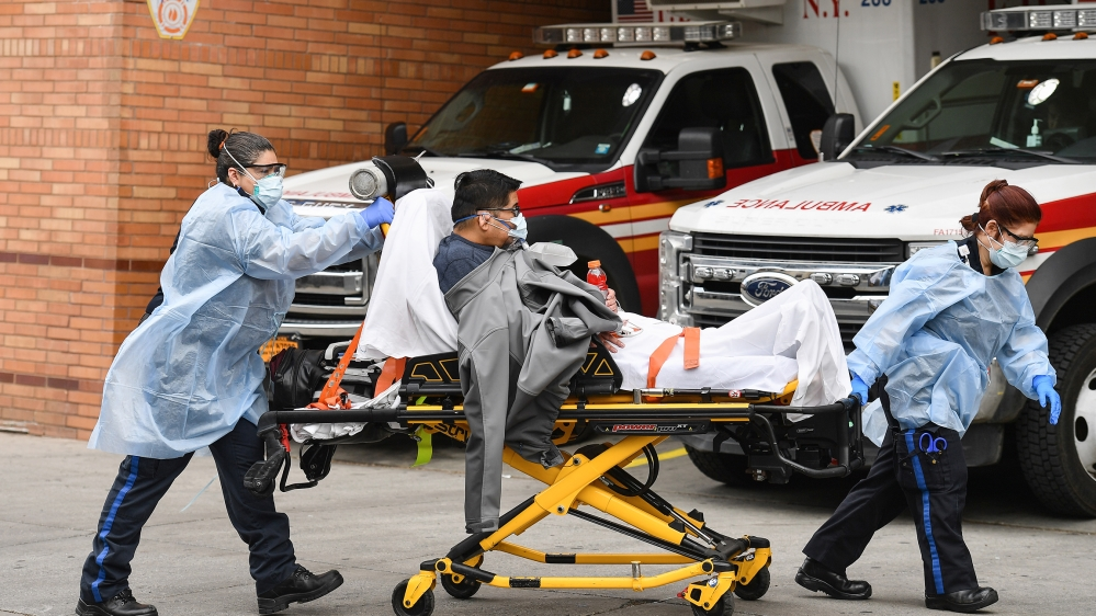 Medical staff move a patient into the Wyckoff Heights Medical Center emergency room on April 7, 2020 in Brooklyn, New York. New York state has recorded its highest number of COVID-19 deaths in 24 hour