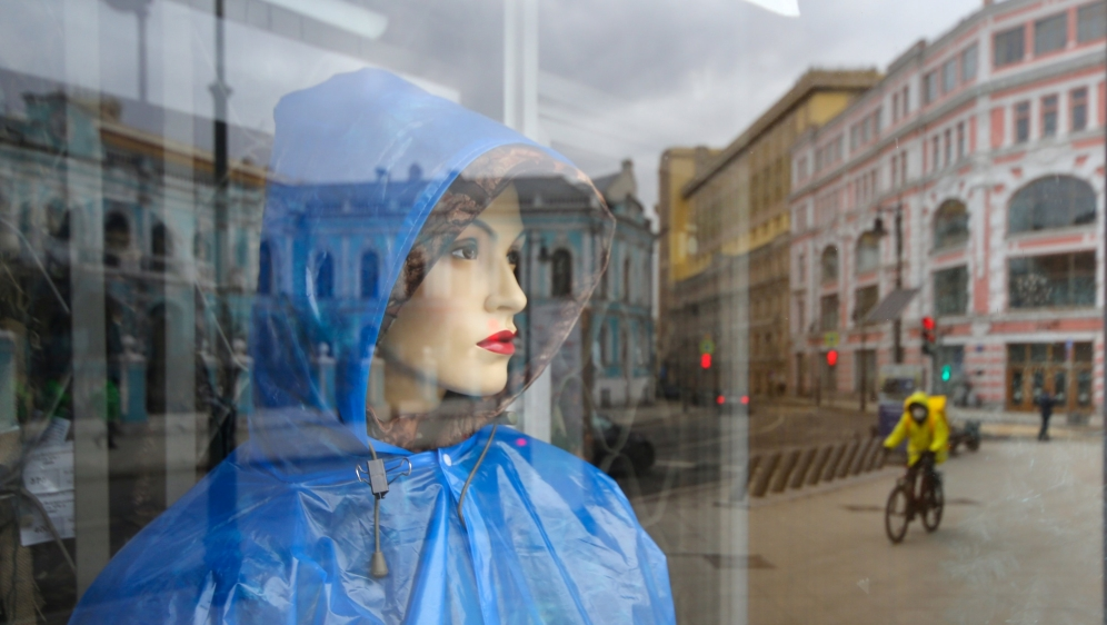 A view shows a mannequin inside a shop window in Moscow