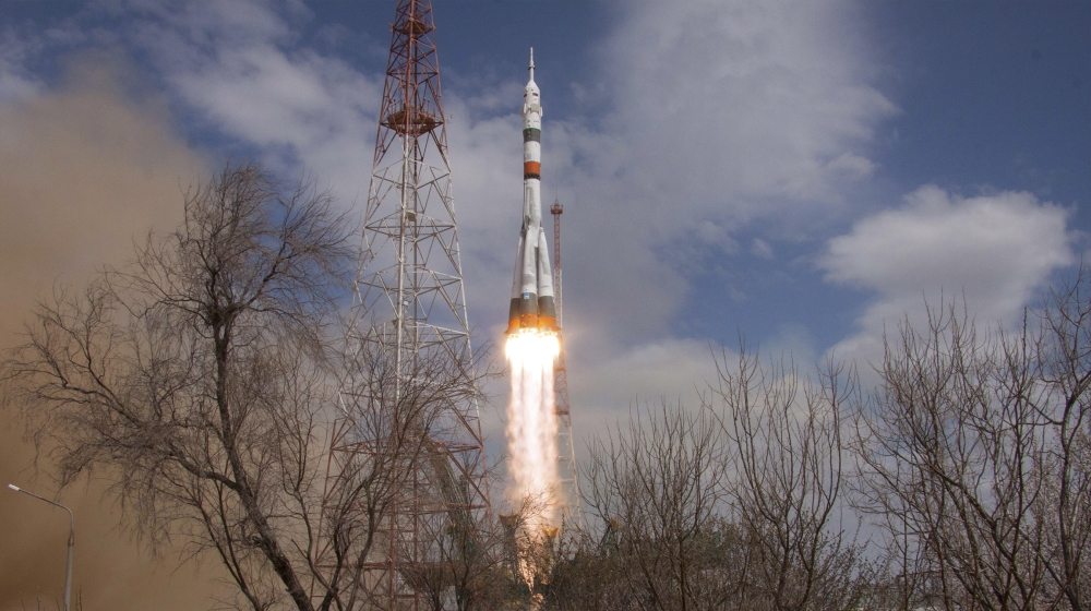 In this handout photo released by Roscosmos Space Agency Press Service the Soyuz-2.1A rocket booster with Soyuz MS-16 space ship carrying a new crew to the International Space Station, ISS, blasts off