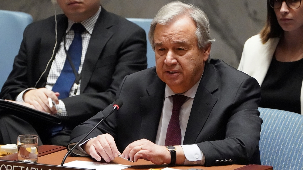 Secretary General of UN Guterres speaks during a Security Council meeting about the situation in Syria at UN Headquarters in New York City