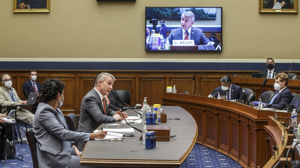 Dr. Rick Bright testifies before the House Energy and Commerce Subcommittee on Health on May 14, 2019, in Washington, DC. Bright filed a whistleblower complaint after he was removed in April 2020 from