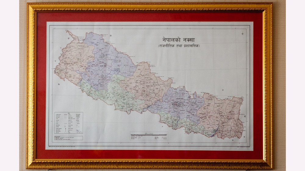 A view of Nepal's updated map is seen in a photo frame. Minister for Land Management Padma Aryal released the updated map of Nepal at a program on Wednesday at a time when Nepal and India have each be