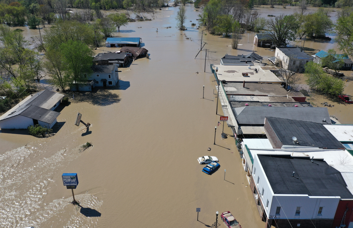An aerial view of the flooded main street in Sanford, Michigan [Gregory Shamus/Getty Images/AFP]